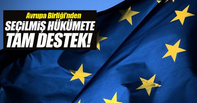 Avrupa Birliği'nden seçilmiş hükümete destek