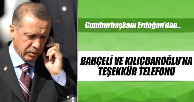 Cumhurbaşkanı'dan Kılıçdaroğlu ve Bahçeli'ye teşekkür telefonu