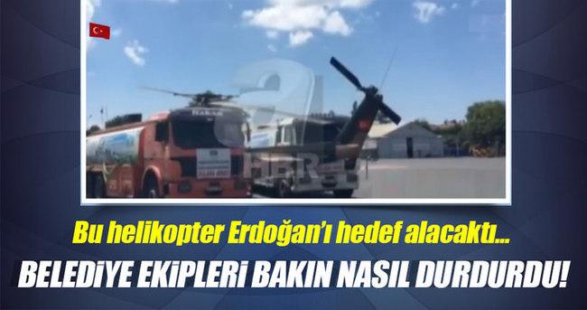 Yeşilköy'den kalkmaya hazırlanan helikopteri belediye araçları durdurdu