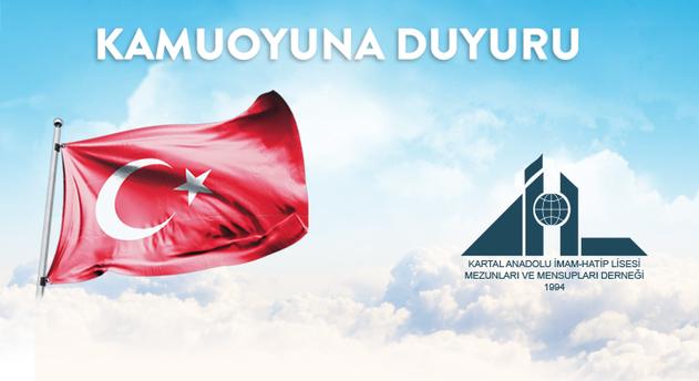 Kartal Anadolu İmam Hatip Lisesi, Mezunları ve Mensupları Derneği'nden açıklama