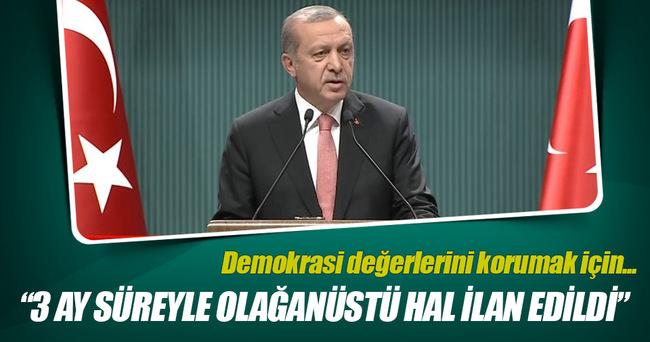 Cumhurbaşkanı Erdoğan: Demokrasi değerlerini korumak için OHAL ilan ettik