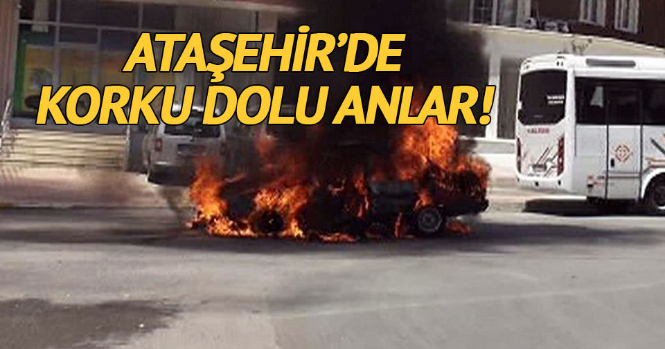 Ataşehir'de seyir halindeki araç alev alev yandı