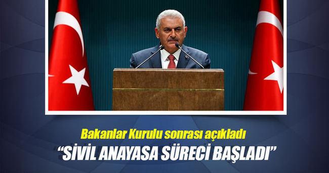 Başbakan Yıldırım açıkladı: Sivil anayasa için takvim başladı