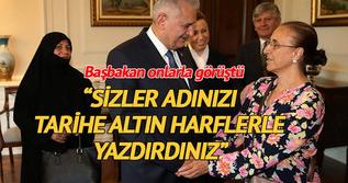 Başbakan Yıldırım, darbe girişimine direnen vatandaşları kabul etti