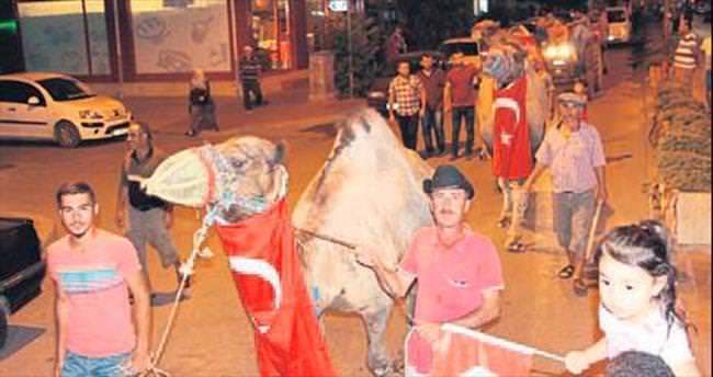 Kumluca'da develerle demokrasi konvoyu