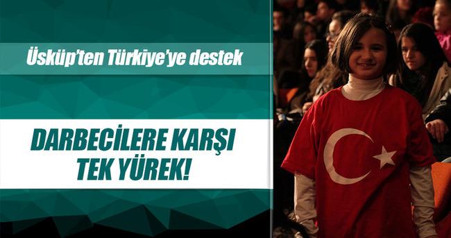 Üsküp'te Türkiye'ye destek gösterisi