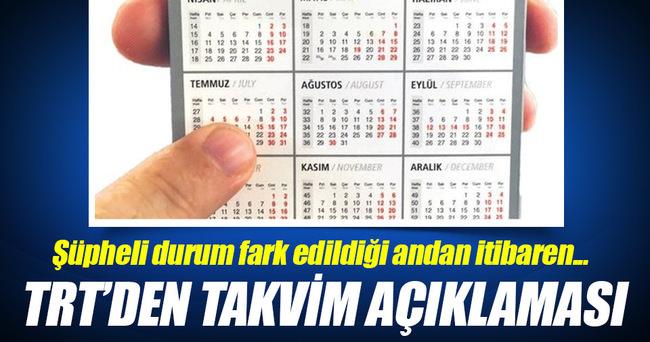 TRT'den takvim açıklaması