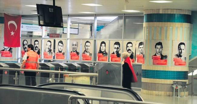 Yenikapı metro istasyonunda şehitler ölümsüzleştirildi