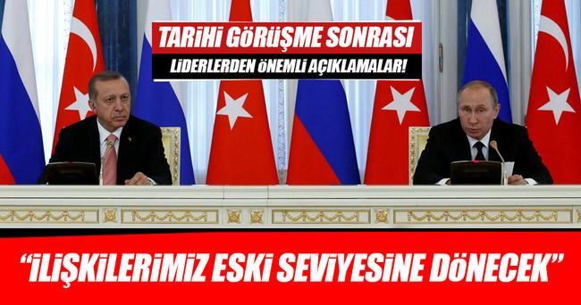 Cumhurbaşkanı Erdoğan ve Putin'den ortak açıklama
