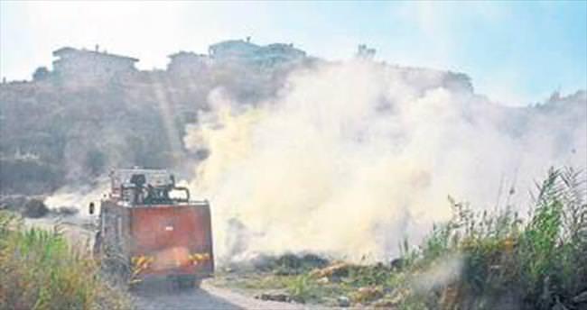 Demre'de sazlık alanda yangın çıktı