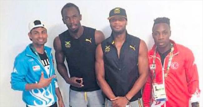 Usain Bolt, milli atletlerle buluştu
