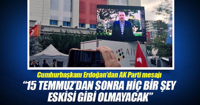 Cumhurbaşkanı Erdoğan'dan AK Parti mesajı