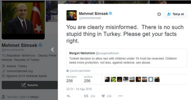 Şimşek'ten İsveçli Bakan'a Twitter'dan yanıt