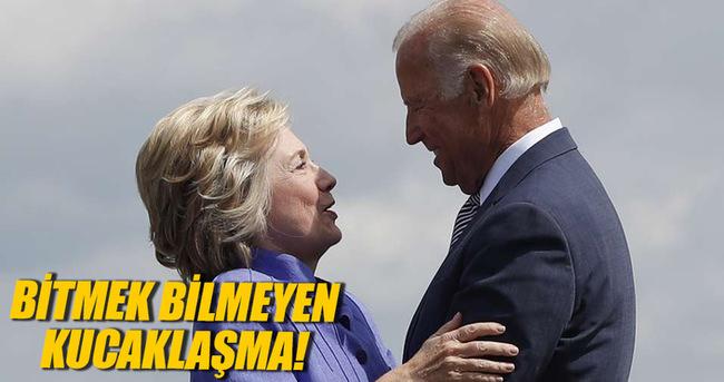 Hillary Clinton ve Joe Biden kucaklaşmaya doyamadı