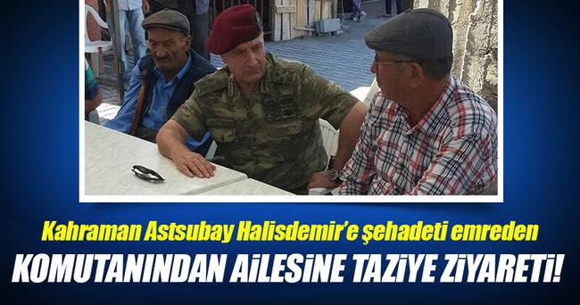 Komutanından kahraman astsubay Halisdemir'in ailesine ziyaret!
