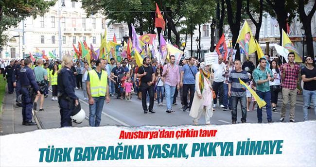Türk bayrağına yasak terör örgütüne destek