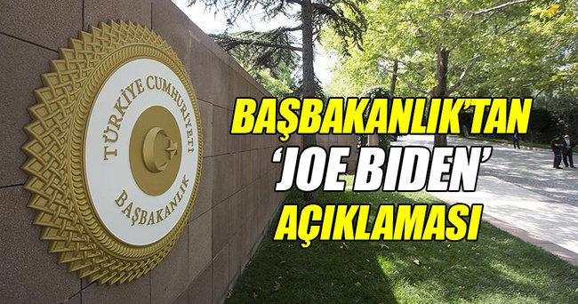 Başbakanlık'tan Joe Biden açıklaması!