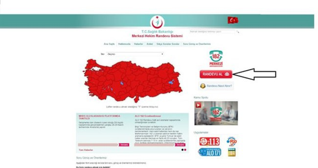 MHRS randevu işlemleri ve ALO 182 online randevu alma