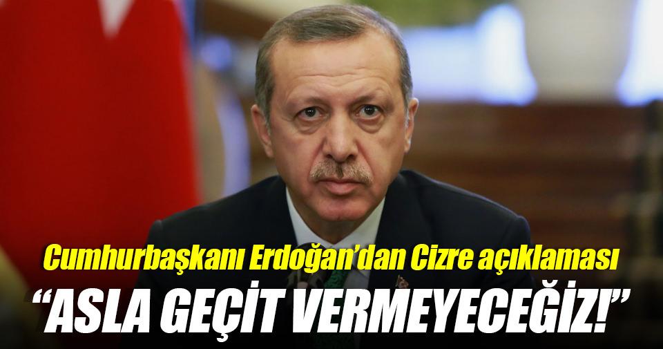 Erdoğan'dan Cizre saldırısına tepki