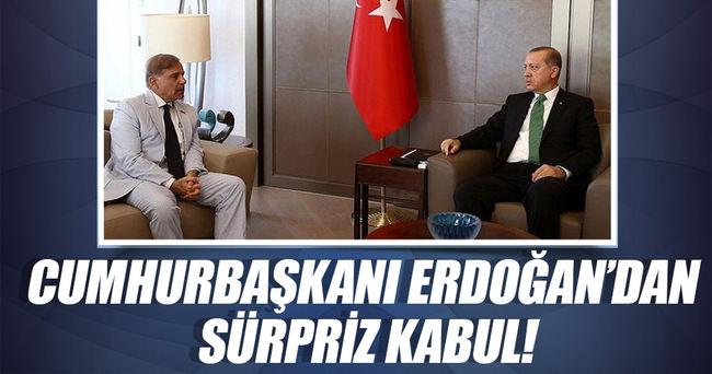 Cumhurbaşkanı Erdoğan Şahbaz Şerif'i kabul etti