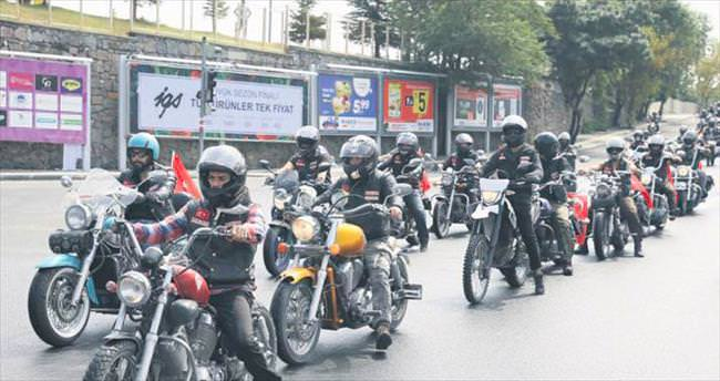 Motosikletlilerden terör protestosu