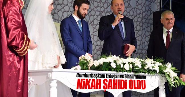 Cumhurbaşkanı Erdoğan ve Başbakan Yıldırım nikah şahidi oldu