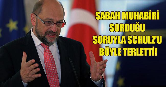 Sabah muhabirinden Schulz'u terleten sorular