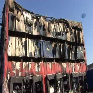 Yanan antrepodaki hasar böyle görüntülendi