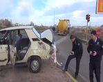 Aksaray'da otomobil ile LPG dolu tanker çarpıştı