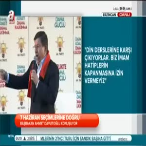 Başbakan Davutoğlu Erzincan'da halka hitap etti