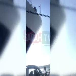 Arabalı vapur, geminin zincirine takıldı!
