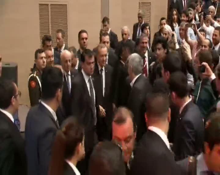 Cumhurbaşkanı Erdoğan mehter marşıyla karşılandı