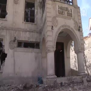 Teröristlerin tahribatı Darusselam Camisi'nin duvarlarında