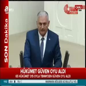 Başbakan Binali Yıldırım teşekkür konuşması yaptı