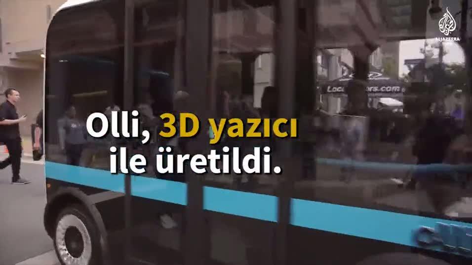 3D yazıcı ile üretilen şoförsüz otobüs yollarda