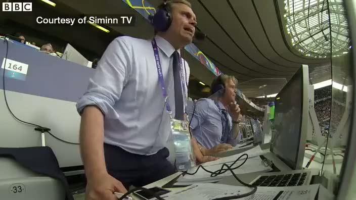 İzlandalı spiker gol oldukça çıldırdı!
