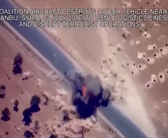 Boş kamyoneti vurup DAEŞ'i vuruyoruz propagandası yapıyorlar!