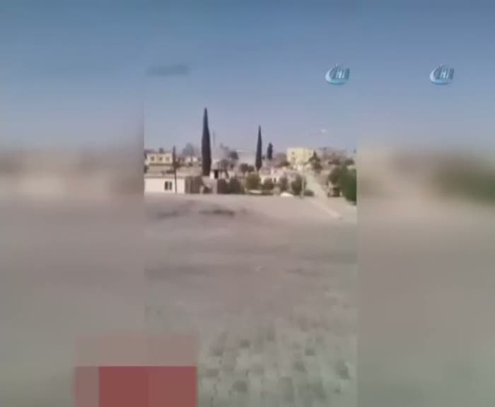 Karkamış'a roket düşme anı