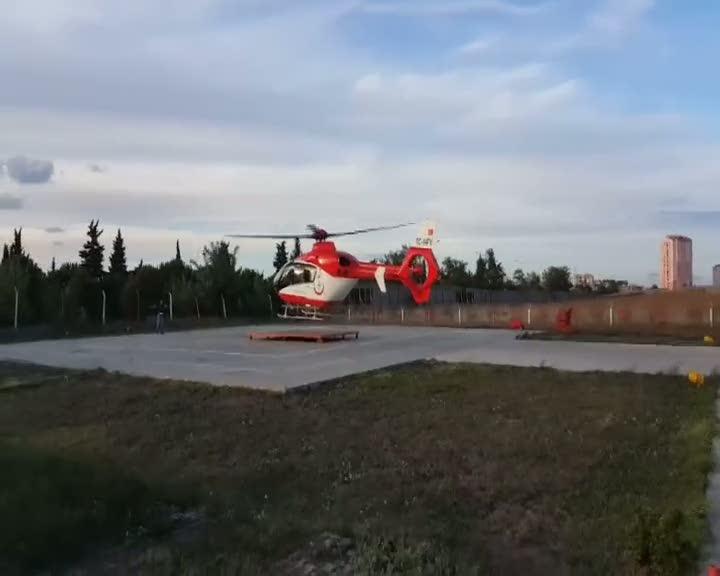 Kalbi duran hastanın yardımına ambulans helikopter yetişti