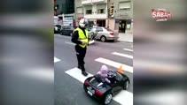Polis minik sürücüye ceza kesti