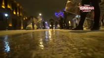Kars'ta yollar buz pistine döndü!