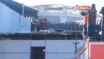 İnşaat halindeki buz pistinin çatısından düşen işçi yaralandı