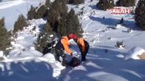 Kayak merkezindeki kurtarma tatbikatı gerçeği aratmadı