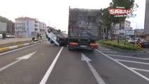 Ortaca'da takla atan araç kamyonun altında kaldı; 2 yaralı