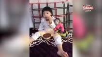 Küçük kızından yiyecek çalan maymuna şaşırtan tepki!