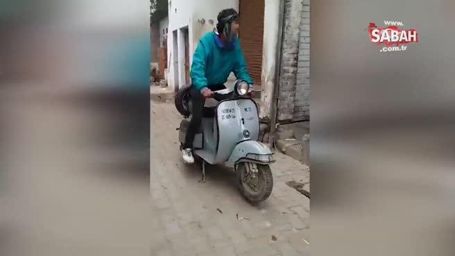 Motosikletle şov yapmak isterken rezil oldu!
